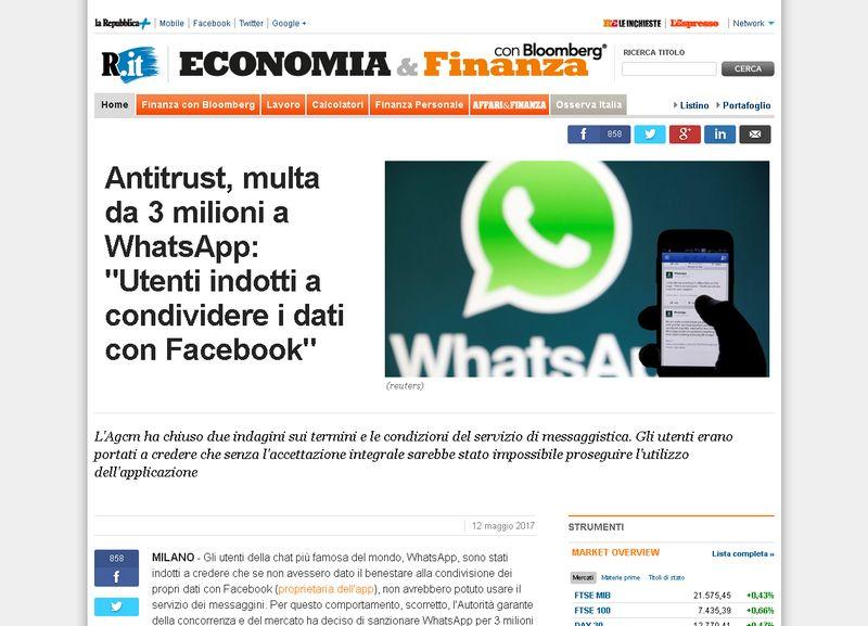 Antitrust multa da 3 milioni a WhatsApp Utenti indotti a condividere i dati con Facebook Repubblica.it